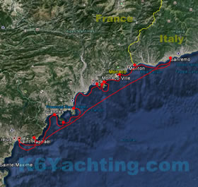 7 Days Yacht Charter Itinerary - From Saint-Raphael to San Remo