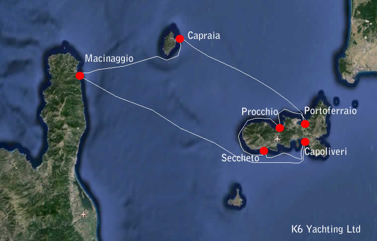 7 Day Charter From Macinaggio to Capraia and Elba K6 Yachting
