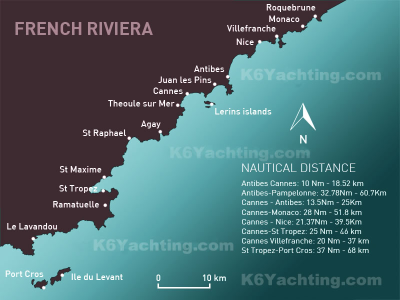French Riviera Nautical Distances