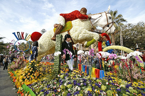 A parade of floral floats